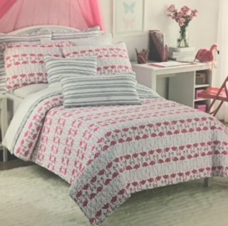 Cynthia Rowley Flamingo Twin Quilt with FREE Tote Bag