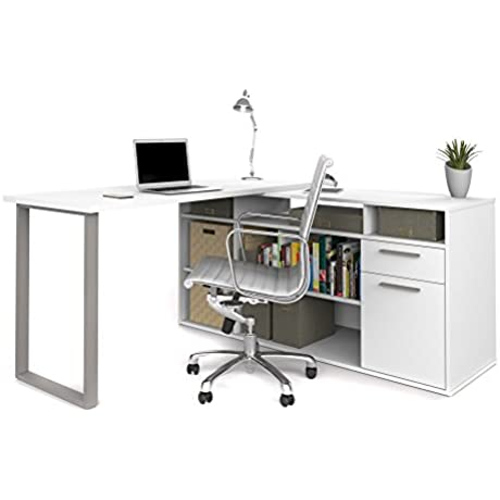 L Shaped Desk With Lateral File And Bookcase In White