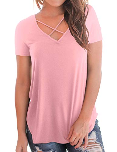 Pink V-neck Shirt - Girls Tees Casual Tops Short Sleeve Criss Cross V Neck Plain Solid Color T-Shirt Pink