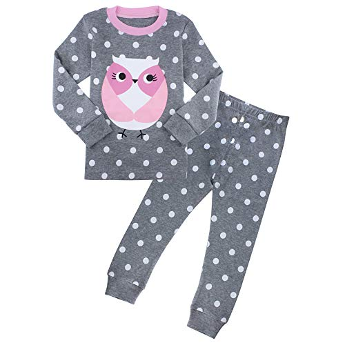 2 Piece Pjs Long - Owl Pajamas for Girls Kids Pjs Sets 100% Cotton Toddler Long Sleeve Clothes 3T