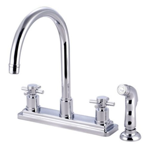 Kingston Brass KS8791DX Concord Twin Cross Handles Kitchen Faucet with Matching Finish Sprayer, 8