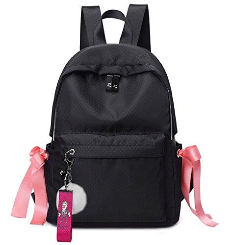 HopeEye niñas Tendencias de la moda Poliéster La Sra mochila(yszsb11-2-Black) 2-negro