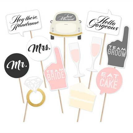 Wedding Photo Booth Party Favor Kit,Mr Mrs Photo Booth Props DIY Kit for Wedding, Birthday, Party - DIY photo booth Fun Accessories