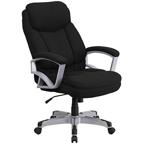 - Flash Furniture HERCULES Series Big & Tall 500 lb. Rated Black Fabric Executive Swivel Chair with Arms
