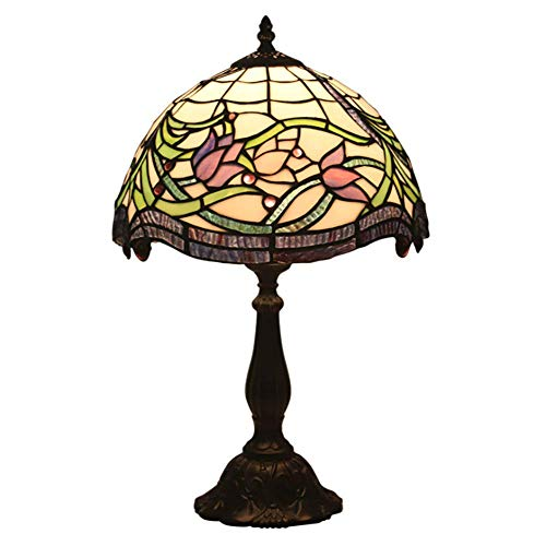12 '' Tiffany Style Table Lamp Bedside Counter Light Manual Production Multicolored Glass American Retro Style Pink Tulip Pattern Lampshade Indoor Lighting ()