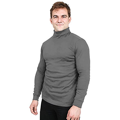 Utopia Wear Special Comfort Fit Turtleneck T-Shirt - Premium Cotton Blend Fabric - Long Sleeves - Machine Washable and Ultra Comfortable - Attractive and Trendy, X-Large (Steel Grey) ()