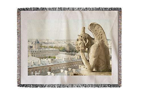 Lantern Press Gargoyle on Notre Dame, France Photography A-91332 (60x80 Woven Chenille Yarn Blanket)