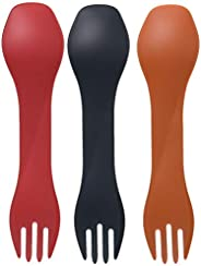 HumanGear GoBites Uno 2-In-1 Fork and Spoon 3-Pack, Multi, International Carry-On (Model: HG0481)