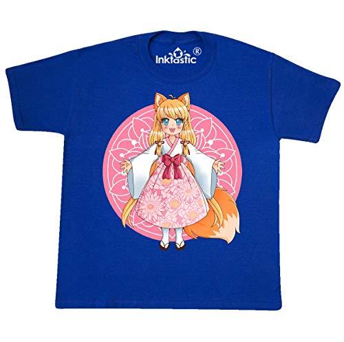 inktastic Fox Chibi Anime Girl Youth T-Shirt Youth Medium (10-12) Royal Blue