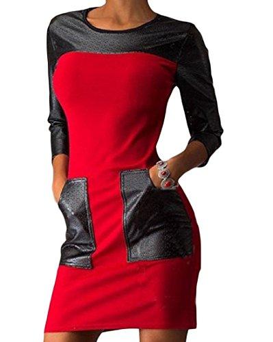 Splicing Dress Elegant Slim Tunic Pockets Pu Red Women Top Coolred Sexy 1qaFwF