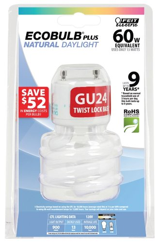- Feit BPESL13T/GU24/D 13-watt Mini Twist Daylight GU24 Base 60-watt Equivalent Light