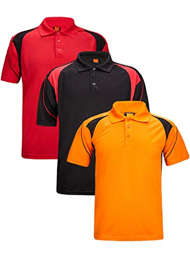 (GEEK LIGHTING Men's Bowling Jerseys Polo Shirts Short Sleeve(Red+Black+Orange,M))