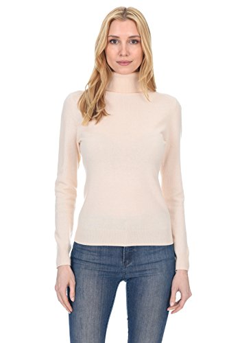 (State Fusio Women's Cashmere Wool Long Sleeve Pullover Turtleneck Sweater Premium Quality Cream)