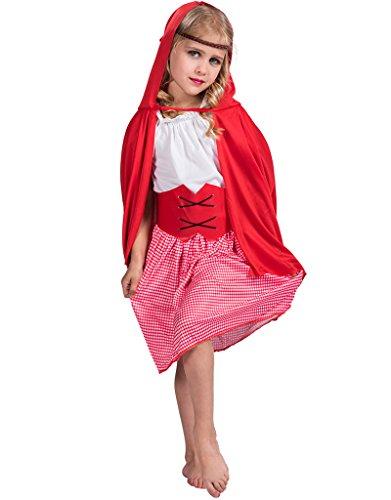 FantastCostumes Girl's Little Red Riding Hood Costume Dress Set(Red, Large)