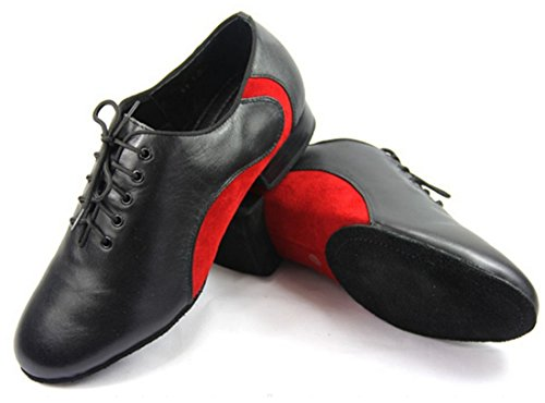 TDA Men's Simple Hot Leather Black/Red Lace up Dance Shoes Wedding Shoes 10 M US by TDA