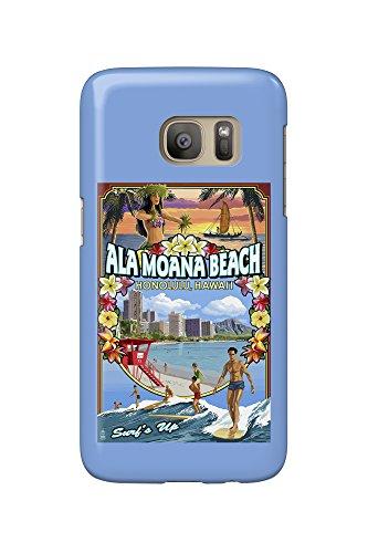 Ala Moana Beach - Honolulu, Hawai'i - Montage Scene (Galaxy S7 Cell Phone Case, Slim Barely - Ala Hawaii Moana