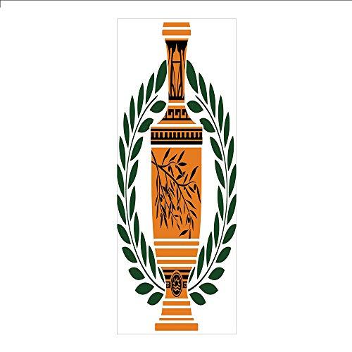 - 3D Decorative Film Privacy Window Film No Glue,Toga Party,Old Antique Greek Vase with Olive Branch Motif and Laurel Wreath,Hunter Green Orange Black,for Home&Office