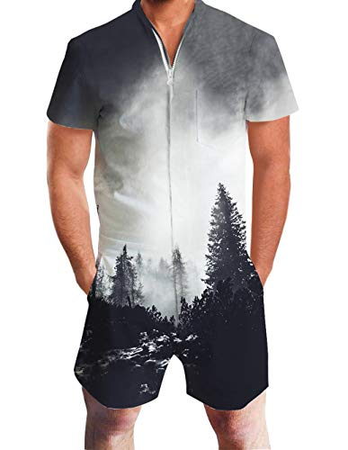 Male Rompers Foggy Forest Pattern 3D Funny Setting Cute Outfit Slim Fit 80s Novelty Shorts Cargo Knee Length Pant Tropical One Piece Boyfriend Jumpsuit Durable Zip with Pocket for Parties