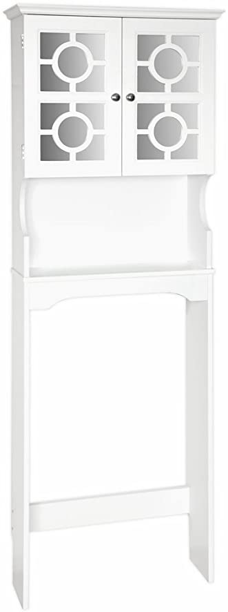 Home Source Industries Henry Bathroom Space Saver With Decorative Two Door  Mirrored Cabinet, White