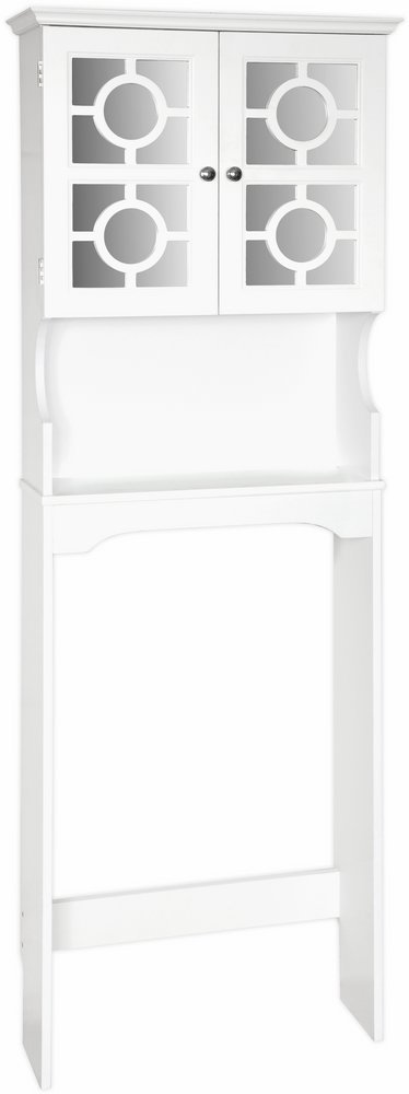 Home Source Industries Henry Bathroom Space Saver with Decorative Two-Door Mirrored Cabinet, White