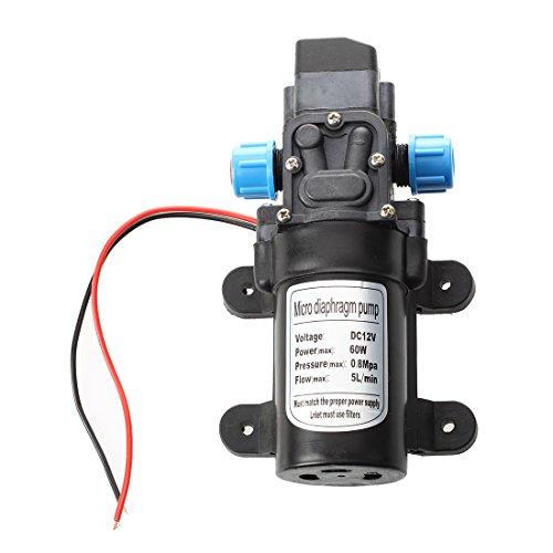 SODIAL Black DC 12V 60W high-pressure mini membrane water pump automatic shutdown 5L / min by SODIAL