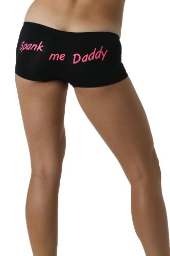 Make Me Laugh Women's Spank Me Daddy Boy Shorts One Size Fits All (Small - XL) Black -