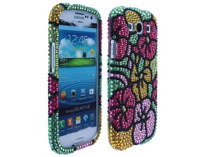 Plastic Phone Cover Full Diamond Pink Hawaii Flower for Samsung Galaxy S III All Versions