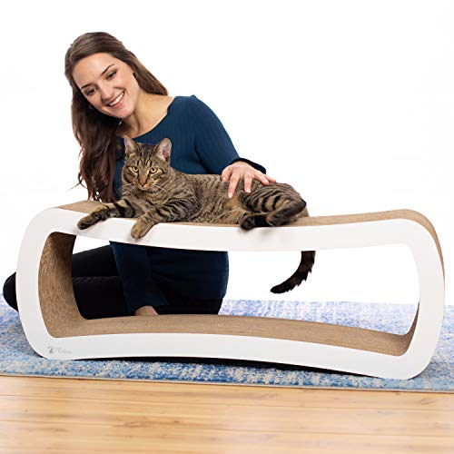 [New] PetFusion Jumbo Cat Scratcher Lounge (White) - Can Fit Up to 4 Adult Cats