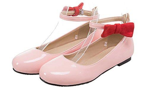 AgooLar Damen Rund Zehe Ohne Absatz Blend-Materialien Rein Schnalle Pumps Schuhe Pink