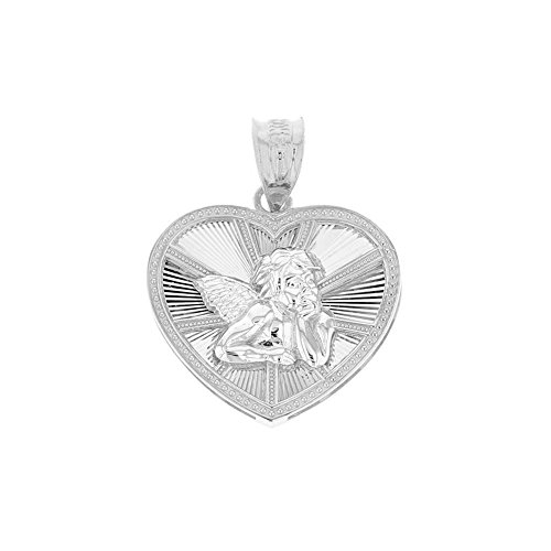 CaliRoseJewelry 925 Sterling Silver Thinking Angel Heart Charm Pendant