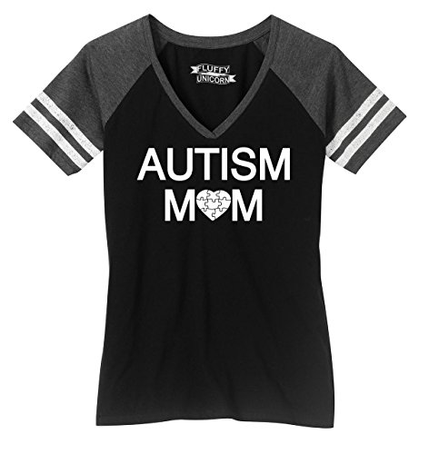 (Comical Shirt Ladies Game V-Neck Tee Autism Mom Tee Autism Awareness Even Tee Black/Heathered Charcoal)