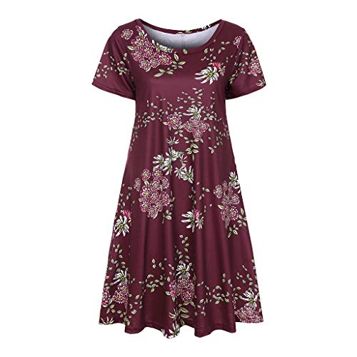 Yoonsoe Women's Summer Short Sleeve Dress Casual Floral Print Swing T Shirt Dress, Burgundy, - Xxl T-shirt Official