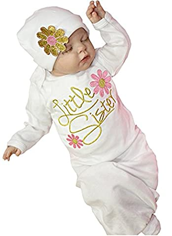 Newborn Infant Girls Take Home outfit Girl Gift Clothes Set Baby Gown (0-3 Months, Pink) - Girls Pink Sleeper