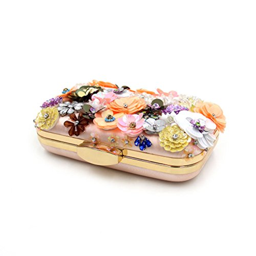 Zhhlaixing bellissime borse Fashion Sequin Bead Stereoscopic Flower Dinner Bags High Grade Rhinestones Beaded Embroidery HandBags Pink