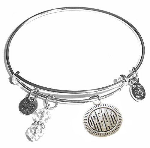 Message Charm (Choose Message) Expandable Wire Bangle Bracelet, in the Popular Style (Dream)