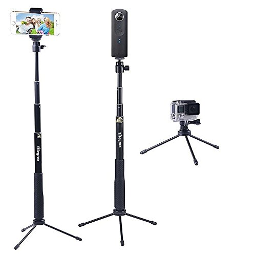 YiSeyruo Selfie Stick Extendable Monopod with Tripod Stand for GoPro Hero 5/4/3+/3/2/1/Session, Samsung Gear 360,4K Action Camera, Ricoh Theta S, Olympus, M15 Camera, 360fly 4K, YI 4K and Cell - Action Gear