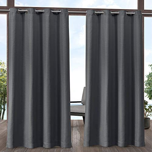 Pair Polyester Curtains - Exclusive Home Curtains Aztec Indoor Outdoor Grommet Top Curtain Panel Pair, 54x84, Charcoal