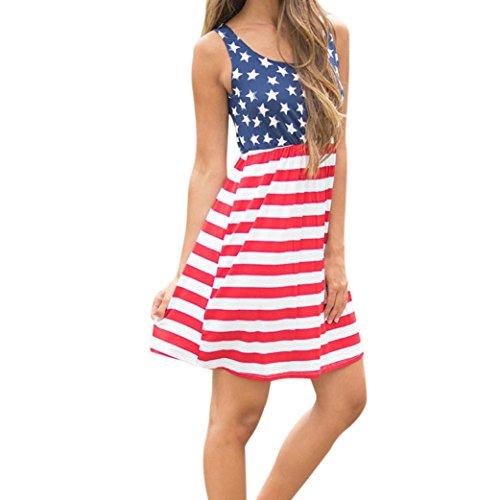 haoricu Women Dress, Sexy Womens Print American Flag Sexy Sleeveless Vest Mini Dress Casual (L, ()