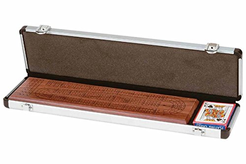 GHP Walnut Wood 3 Track Continuous Cribbage Board Set w Aluminum Case/Metal - Cribbage Case