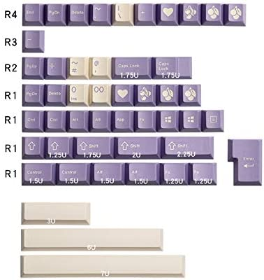 153 touches en ABS avec profil de cerise violet lait, touches pour clavier mécanique