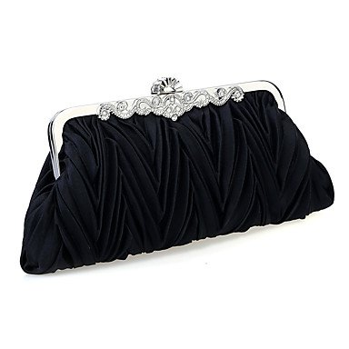 Women Chiffon /Satin Minaudiere Shoulder Bag / Clutch / Evening Bag-White / Purple / Brown / Red / Silver / Black Black