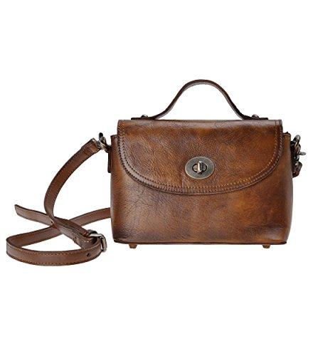 ZLYC Women's Retro Dip Dye Leather Cross Body Bag Top Handle Satchel with Turnlock Closure (Lock Leather Twist)
