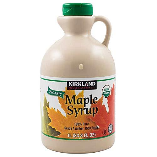 Kirkland Signature Organic Gluten Free 100% Pure, Grade A Amber Rich Maple Syrup - 1 L (33.8 oz)