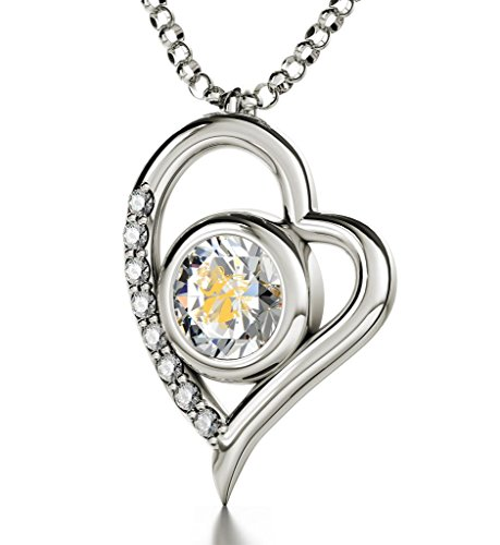 925 Sterling Silver Zodiac Heart Pendant Virgo Necklace 24k Gold inscribed on Clear Crystal, 18'' by Nano Jewelry