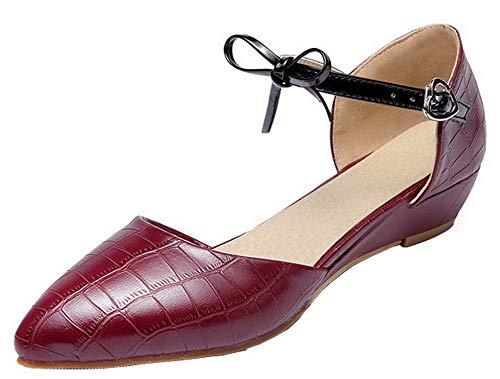Zapatos Mini Agoolar Tacón Sólido Burdeos Gmxdb006726 Tacón De Hebilla Pu Mujeres Con Tr7wqI0r