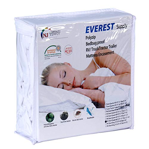 Polyzip Box Spring Mattress Encasement Bed Bug Dustmite Proof Machine Washable Non Waterproof Breathable Hypoallergenic Zippered Cover Queen 60 by 80 inches fits 9 to 11 inch Depth
