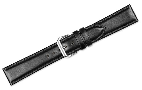 deBeer brand Smooth Leather Watch Band (Silver & Gold Buckle) - Black 15mm by deBeer Watch Bands (Image #1)