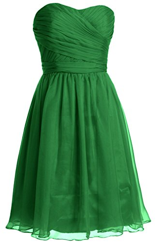 MACloth Women Strapless Short Bridesmaid Dress Wedding Cocktail Party Gown Verde