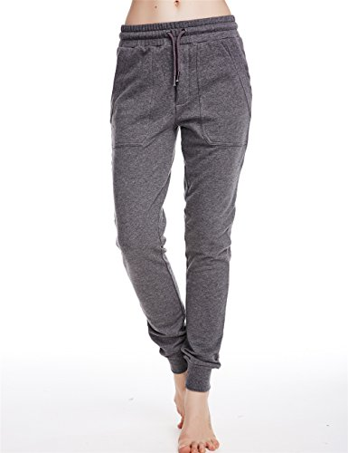 Icyzone Women's Slim French Terry Jogger Sweatpants with Side Pockets (L, Athletic Grey)