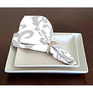 Set of 4 Grey and White Damask Lunch Dinner Napkins 17  x 17